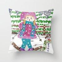 ski Throw Pillows featuring Ski girl by iCraftCafé