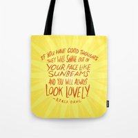 roald dahl Tote Bags featuring Roald Dahl on Positive Thinking by Josh LaFayette
