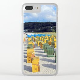 Beach chairs, yellow green Clear iPhone Case