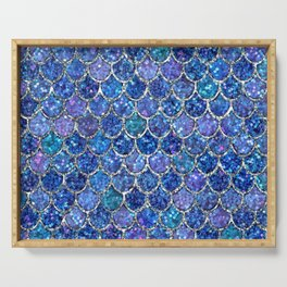 Sparkly Shades of Blue & Silver Glitter Mermaid Scales Serving Tray