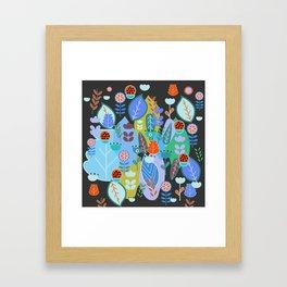 Midnight joyful inflorescence Framed Art Print