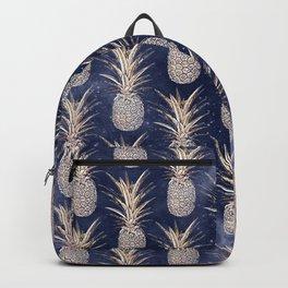 Modern Golden pineapples nebula pattern Backpack