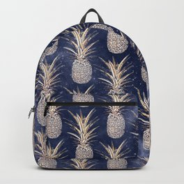 Modern Golden pineapples nebula pattern Backpack