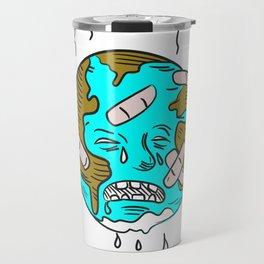 Earth Sad and Crying Doodle Travel Mug