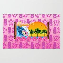 Pink Tiki And Hawaiian Surfing Rug