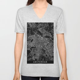 Amsterdam Black Map Unisex V-Neck