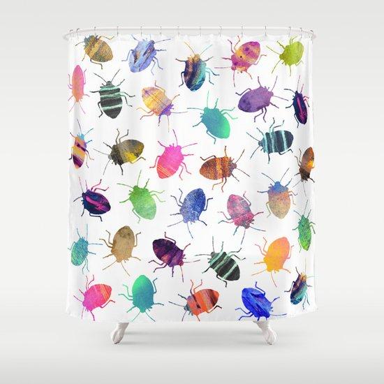 Pretty Bugs Pattern Shower Curtain