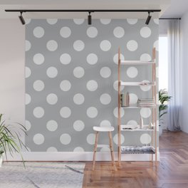Silver sand - grey - White Polka Dots - Pois Pattern Wall Mural