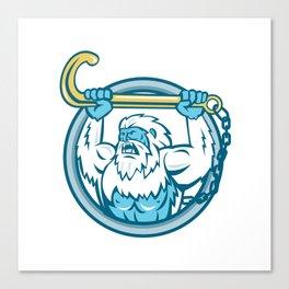 Yeti Lifting J Hook Circle Retro Canvas Print