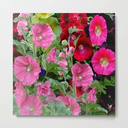 DECORATIVE PINK & RED GARDEN HOLLYHOCKS Metal Print