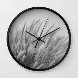 Foxtails on a Hill in Black and White Wall Clock