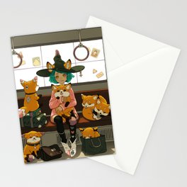 Witch and the magic foxes   Stationery Cards