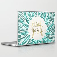 typography Laptop & iPad Skins featuring Treat Yo Self – Gold & Turquoise by Cat Coquillette