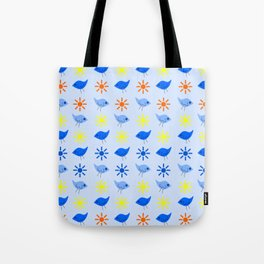 Blue Birds Yellow Stars Pattern Tote Bag