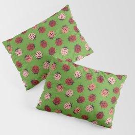 All over Modern Ladybug on Green Background Pillow Sham