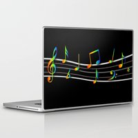 music notes Laptop & iPad Skins featuring Rainbow Music Notes on Black by GBC Design