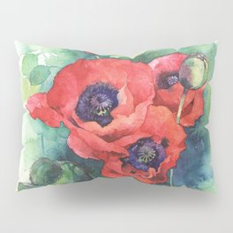 Watercolor red poppy flowers Pillow Sham