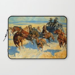 """Frederic Remington Western Art """"Downing the Nigh Leader"""" Laptop Sleeve"""