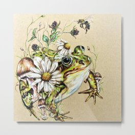 Toad and Wild Flowers Metal Print