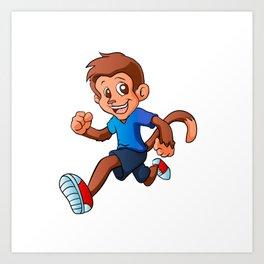 Running monkey . Art Print