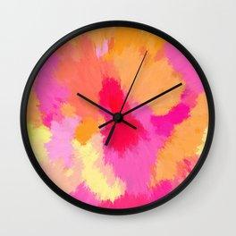 Pink, Orange and Yellow Watercolors Wall Clock