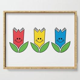 Flowers Of Primary Colors - Fleurs Aux Couleurs Primaires Serving Tray
