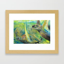 "Giant Sea Turtle Watercolor Fine Art Print Reproduction Painting ""The Lovers"" Framed Art Print"