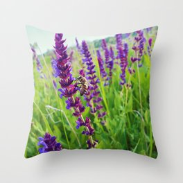 sage salvia meadow Throw Pillow