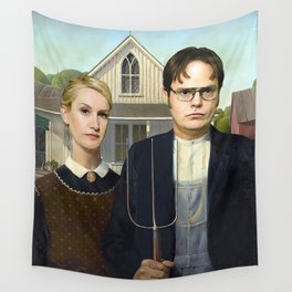 Dwight And Angela American Gothic Wall Tapestry