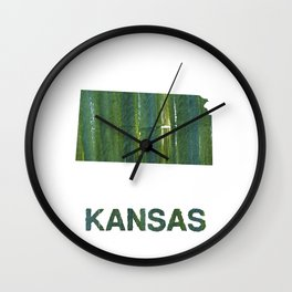 Kansas map outline Deep moss green watercolor Wall Clock