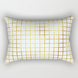 White & Gold Grid Rectangular Pillow