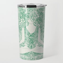 lotus garden vintage green Travel Mug