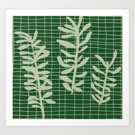 green grid leaf sprig pattern Art Print