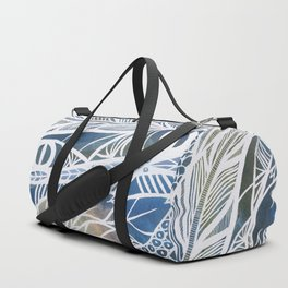 Feathery Design in Blues Duffle Bag