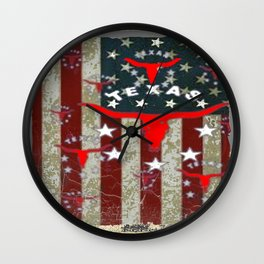 Grungy Old Looking Texas  Pride Longhorn Americana Wall Clock