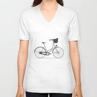 bicycle V-neck T-shirts featuring Bicycle by arzu sendag