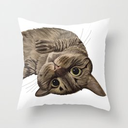 Playful Cat Illustration Throw Pillow