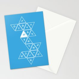 Blue Unrolled D20 Stationery Cards