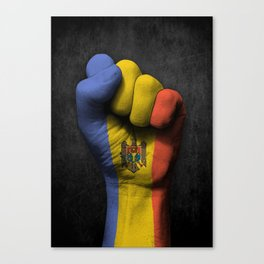 Moldovan Flag on a Raised Clenched Fist Canvas Print
