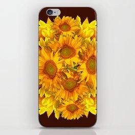 YELLOW SUNFLOWERS CHOCOLATE GARDEN ART iPhone Skin