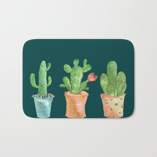 Three Green Cacti On Green Background Bath Mat