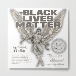 Black Lives Matter Archangel Zadkiel Metal Print