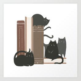 CATS + BOOKS Art Print