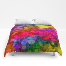 Rainbow Bubbles Abstract Design Comforters