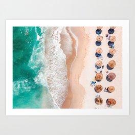 Aerial Beach Print, Emerald Turquoise Ocean Beach Photography, Aerial Photography, Ocean Waves, Beach Art Poster, Home Decor Art Print Art Print