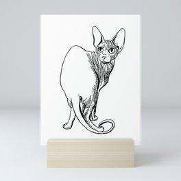 Sphynx Cat Illustration - Sphynx - Cat Drawing - Naked Cat - Wrinkly Cat - Black and White Mini Art Print