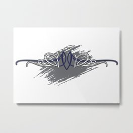 Pintstriping Blu and grey deco wall Metal Print