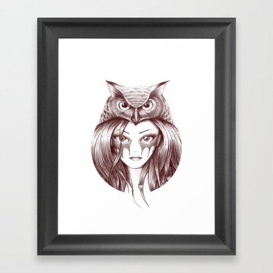 Owl Totem Girl Framed Art Print