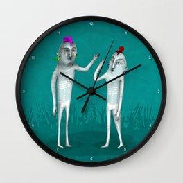 prehistoric hi five in color Wall Clock