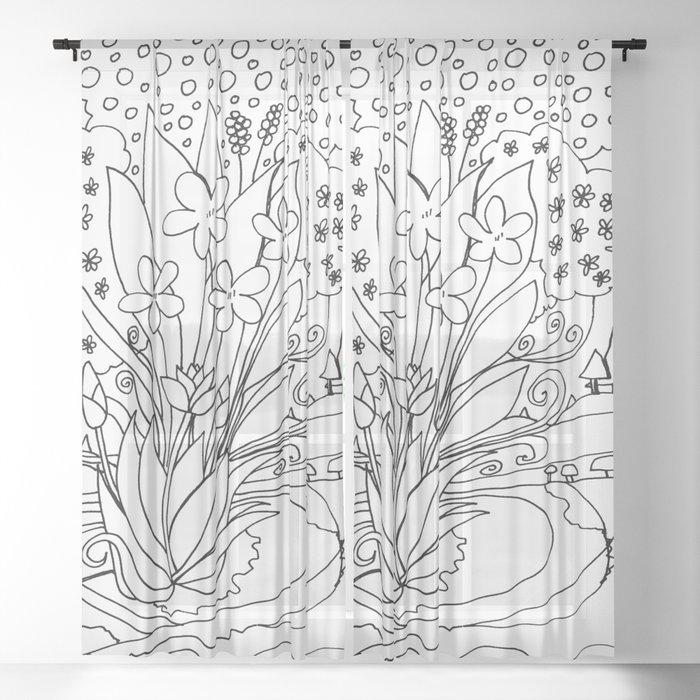 fantasy creek Sheer Curtain